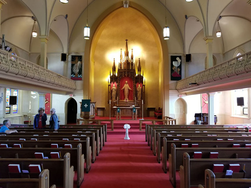 """The sanctuary of Augustana Lutheran, Sioux City, Iowa, features a large """"Altar of Peace"""" installed in 1919. Photo by Laurie K. Sommers."""