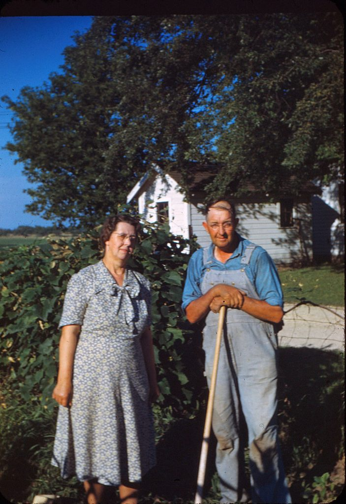 Norwegian immigrants Emil and Inga Sommers, pictured here on their family farm in the late 1940s, were married and buried at Jefferson Prairie Lutheran Church.