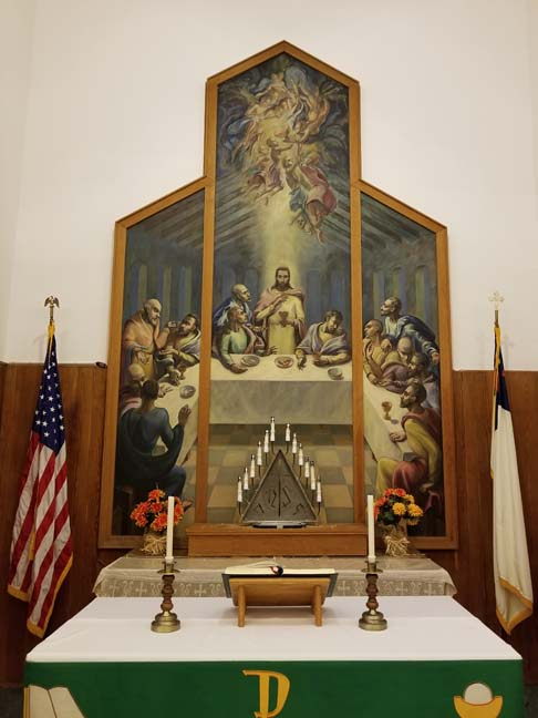 "The Art Deco interior of Bethany Lutheran features a triptych of ""The Last Supper"" by Chicago Art Institute student, Theodore Johnson.  Photos by Laurie K. Sommers."