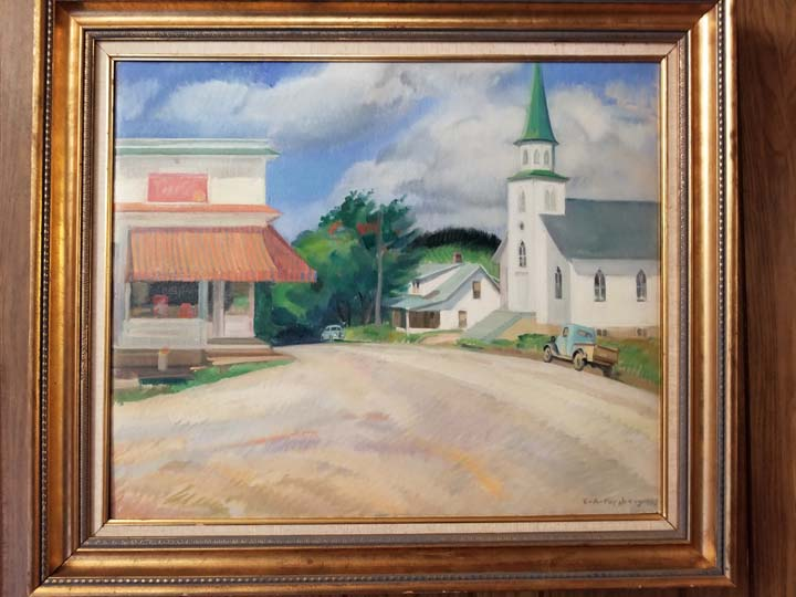 Elmer Forsberg's painting of Bethany Lutheran and the village of Covington. Photo by Laurie K. Sommers.